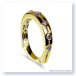 Mark Silverstein Imagines Polished 18K Yellow and Rose Gold Euro Style Pink Diamond Wedding Band