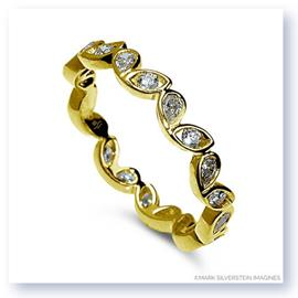 Mark Silverstein Imagines Round and Pear Shaped End on End Stackable 18K Yellow Gold Diamond Fashion Ring