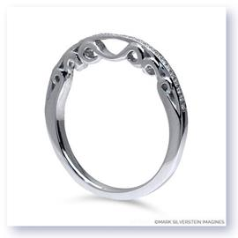 Mark Silverstein Imagines Polished 18K White Gold Three Curl Filigree and Diamond Wedding Band