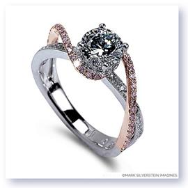 Mark Silverstein Imagines 18K White and Rose Gold White and Pink Diamond Swirl Strand Engagment Ring