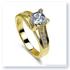 Mark Silverstein Imagines 18K Yellow Gold Crossed Prong Square Stone and Diamond Engagement Ring
