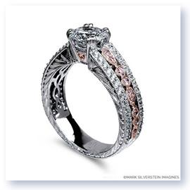 Mark Silverstein Imagines 18K White and Rose Gold Engraved Vintage Pink and White Diamond Engagement Ring