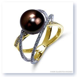 Mark Silverstein Imagines Two Tone 18K White and Yellow Gold Three Strand Crossover Diamond and South Sea Pearl Ring