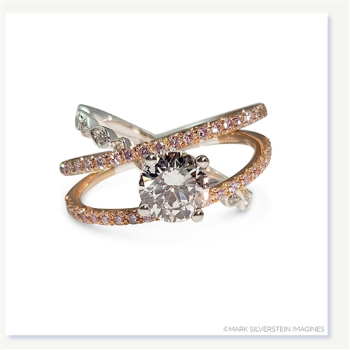 Mark silverstein imagines two tone 18k white and rose gold for Three strand wedding ring