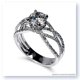 Mark Silverstein Imagines 18K White Gold Wispy Crossover Diamond Engagement Ring