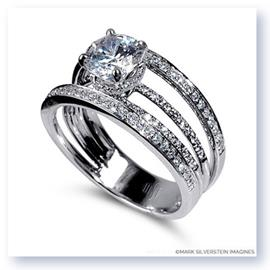 Mark Silverstein Imagines 18K White Gold Four Stepped Row Diamond Engagement Ring