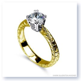 Mark Silverstein Imagines Hand Engraved 18K Yellow Gold Solitaire Engagement Ring