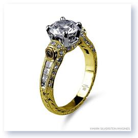 Mark Silverstein Imagines Hand Engraved 18K Yellow Gold White and Yellow Diamond Engagement Ring