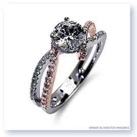 Mark Silverstein Imagines 18K White and Rose Gold Bypass Pink and White Diamond Engagement Ring
