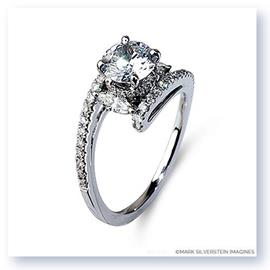 Mark Silverstein Imagines 18K White Gold Coiled Shank Marquise Diamond Engagement Ring