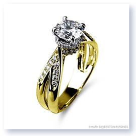 Mark Silverstein Imagines 18K Yellow Gold Split Shank Cathedral Style Diamond Engagement Ring