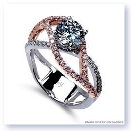 Mark Silverstein Imagines 18K White and Rose Gold Double Split Shank Diamond Engagement RIng
