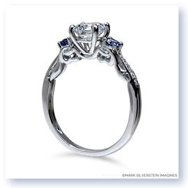 Mark Silverstein Imagines 18K White Gold Clawing Hands Diamond and Sapphire Engagement Ring