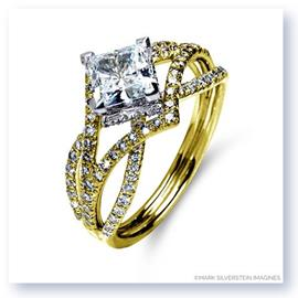 Mark Silverstein Imagines 18K Yellow Gold Three Strand Crossover Edgy Diamond Engagement Ring