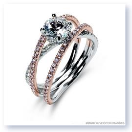 Mark Silverstein Imagines 18K White and Rose Gold Double Band Crossover Pink and White Diamond Engagement Ring