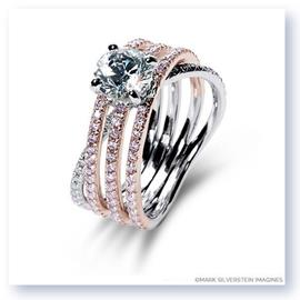 Mark Silverstein Imagines 18K White and Rose Gold Three Band Crossover Pink and White Diamond Engagement Ring