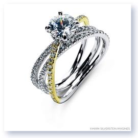 Mark Silverstein Imagines 18K White and Yellow Gold Double Row Single Crossover Diamond Engagement Ring