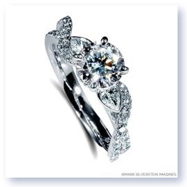 Mark Silverstein Imagines 18K White Gold Pear Side Stone Twist Diamond Engagement Ring