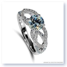 Mark Silverstein Imagines 18K White Gold Flower Petal Diamond Enagagement Ring