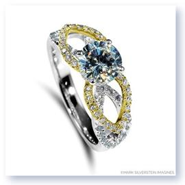 Mark Silverstein Imagines 18K White and Yellow Gold Flower Petal Diamond Enagagement Ring