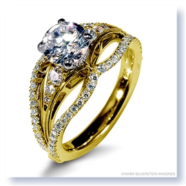 Mark Silverstein Imagines 18K Yellow Gold Triple Band Diamonds Engagement Ring