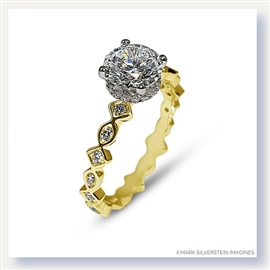 Mark Silverstein Imagines 18K Yellow and White Gold Geometric Shape Diamond Engagement Ring