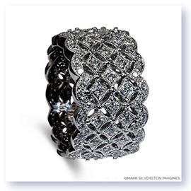 Mark Silverstein Imagines 18K White Gold Wide Art Deco Inspired Fashion Band