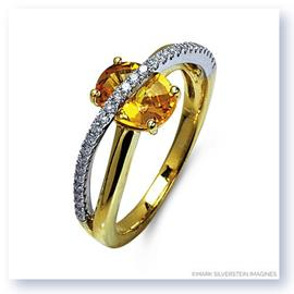 Mark Silverstein Imagines 18K White and Yellow Gold Yellow Sapphire and Diamond Crossover Fashion Ring