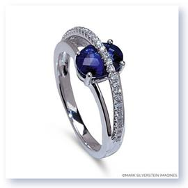 Mark Silverstein Imagines 18K White Gold Blue Sapphire and Diamond Split Shank Right-Hand Ring