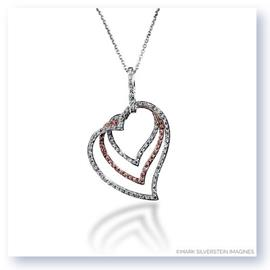 Mark Silverstein Imagines 18K White and Rose Gold Swinging Open Heart Trio Pendant