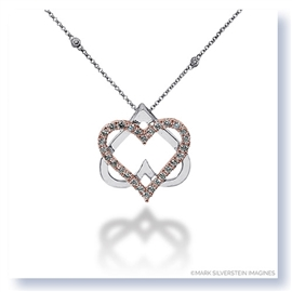 Mark Silverstein Imagines 18K White and Rose Gold Double Heart Diamond Pendant