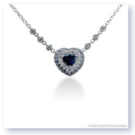 Mark Silverstein Imagines 18k White Gold Blue Sapphire and White Diamond Heart Necklace