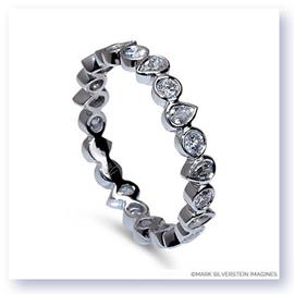 Mark Silverstein Imagines Round and Pear Shaped Stackable 18K White Gold Diamond Fashion Ring