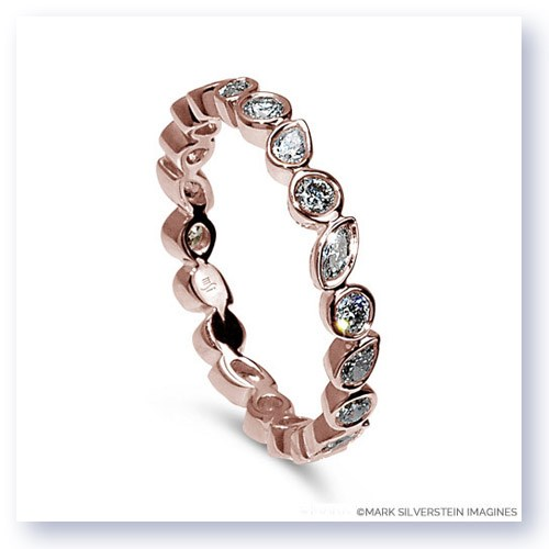 Mark Silverstein Imagines Round, Pear and Marquise Shaped Diamond 18K Rose Gold Stackable Fashion Ring