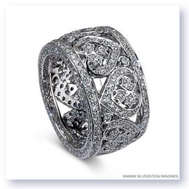 Mark Silverstein Imagines 18K White Gold and Diamond Heart Design Wide Fashion Band
