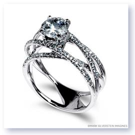 Mark Silverstein Imagines 18K White Gold and Diamond Strand Crossover Engagement Ring
