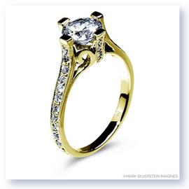 Mark Silverstein Imagines Polished 18K Yellow Gold Cathedral Style Diamond Engagement Ring