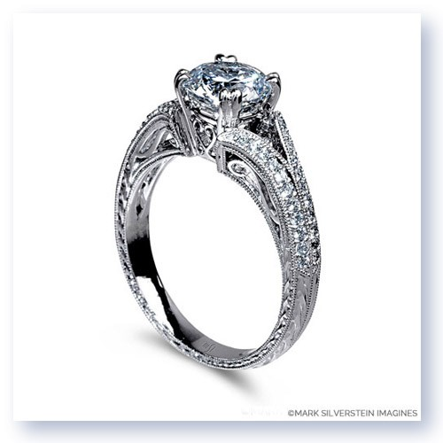 Mark Silverstein Imagines 18K White Gold Hand Engraved Split Shank and Filigree and Diamond Engagement Ring