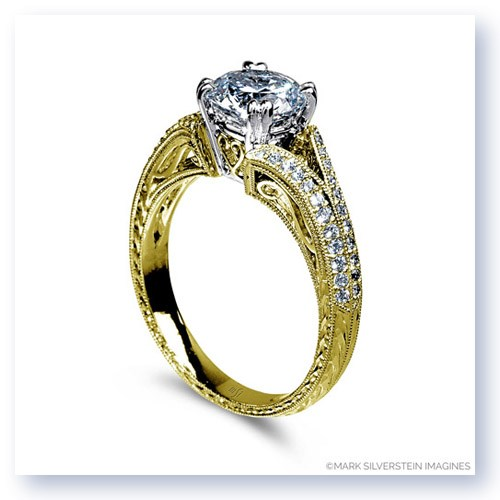 Mark Silverstein Imagines 18K Yellow Gold Hand Engraved Split Shank and Filigree and Diamond Engagement Ring