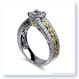 Mark Silverstein Imagines 18K White and Yellow Gold Engraved Vintage Yellow and White Diamond Engagement Ring