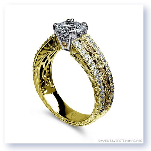 Mark Silverstein Imagines 18K Yellow Gold Engraved Vintage Yellow and White Diamond  Engagement Ring