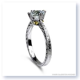 Mark Silverstein Imagines 18K White Gold Engraved Modern White and Yellow Diamond Engagement Ring
