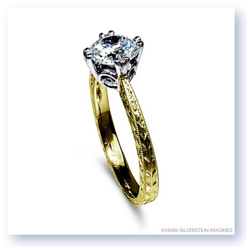 Mark Silverstein Imagines 18K Yellow Gold Engraved Modern Diamond Engagement Ring