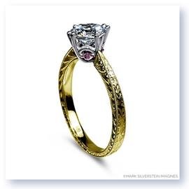 Mark Silverstein Imagines 18K Yellow Gold Engraved Modern White and Pink Diamond Engagement Ring