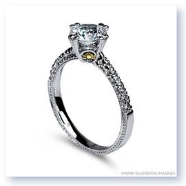 Mark Silverstein Imagines Hand Engraved 18K White and Yellow Gold Yellow Diamond Accent Engagement Ring