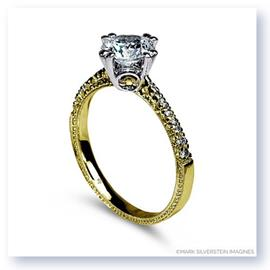 Mark Silverstein Imagines Hand Engraved 18K Yellow Gold Yellow Diamond Accent Engagement Ring