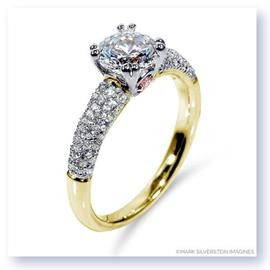 Mark Silverstein Imagines 18K Yellow Gold Pink Diamond Accent and Pavé Tapered Engagement Ring
