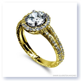Mark Silverstein Imagines Hand Engraved 18K Yellow Gold Circle Halo Pavé Diamond Engagement Ring