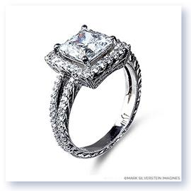 Mark Silverstein Imagines Hand Engraved 18K White Gold Square Halo Pavé Diamond Engagement Ring