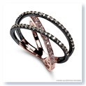 Mark Silverstein Imagines 18K Rose Gold and Black Rhodium Crossover Pink and Champagne Diamond Ring